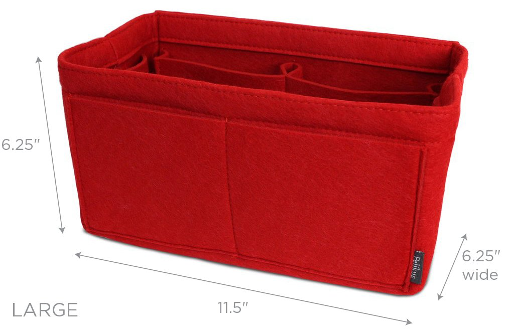 Pelikus Felt Purse & Tote Organizer Insert/Multi-Pocket Handbag Shaper (Large, Red) by Pelikus (Image #2)