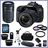 Canon EOS 80D DSLR Camera with 18-135mm Lens (USA) + Canon EF-S 55-250mm f/4-5.6 IS STM Lens + 32GB Memory Cards (2X) + 58mm Telephoto & Wide Angle Lenses + Spare Battery and more ...