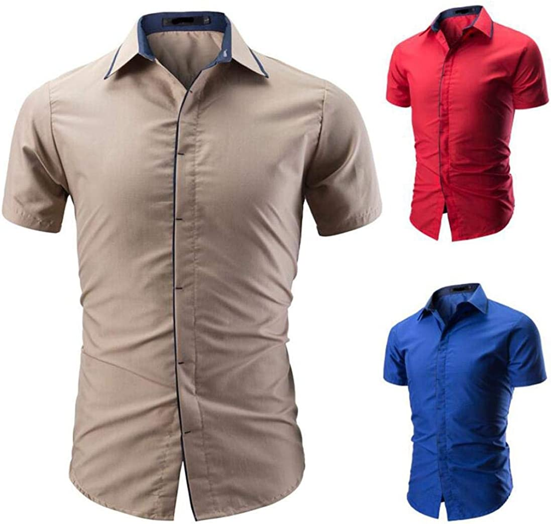 Color : Rot3, Size : 4XL Upper Outer Garment Mens Patchwork Blouse Casual Long Sleeve Slim Shirts Striped Printed Tops Mens Shirt Regular Fit Collar Chest Pocket Wild Tight for Men