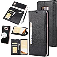 Gostyle Samsung Galaxy S8 Plus Case,2 in 1 Detachable Flip Wallet Case with Credit Card Slots,Work with Magnetic Car Mount,PU Leather Protective Cover for Samsung Galaxy S8 Plus,Black