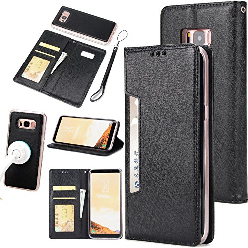 Price comparison product image Gostyle Samsung Galaxy S8 Plus Case, 2 in 1 Detachable Flip Wallet Case with Credit Card Slots, Work with Magnetic Car Mount, PU Leather Protective Cover for Samsung Galaxy S8 Plus, Black