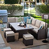 Cheap Dark Brown Modern All Weather Wicker Aluminum Sofa Sectional Patio Dining Set | Perfect Contemporary Cushioned Sofa, Right & Left Arm Sectionals, 3 Ottomans & a Dining Table Furniture Set for Your Home Outdoors by the BBQ Grill, Garden or Firepit