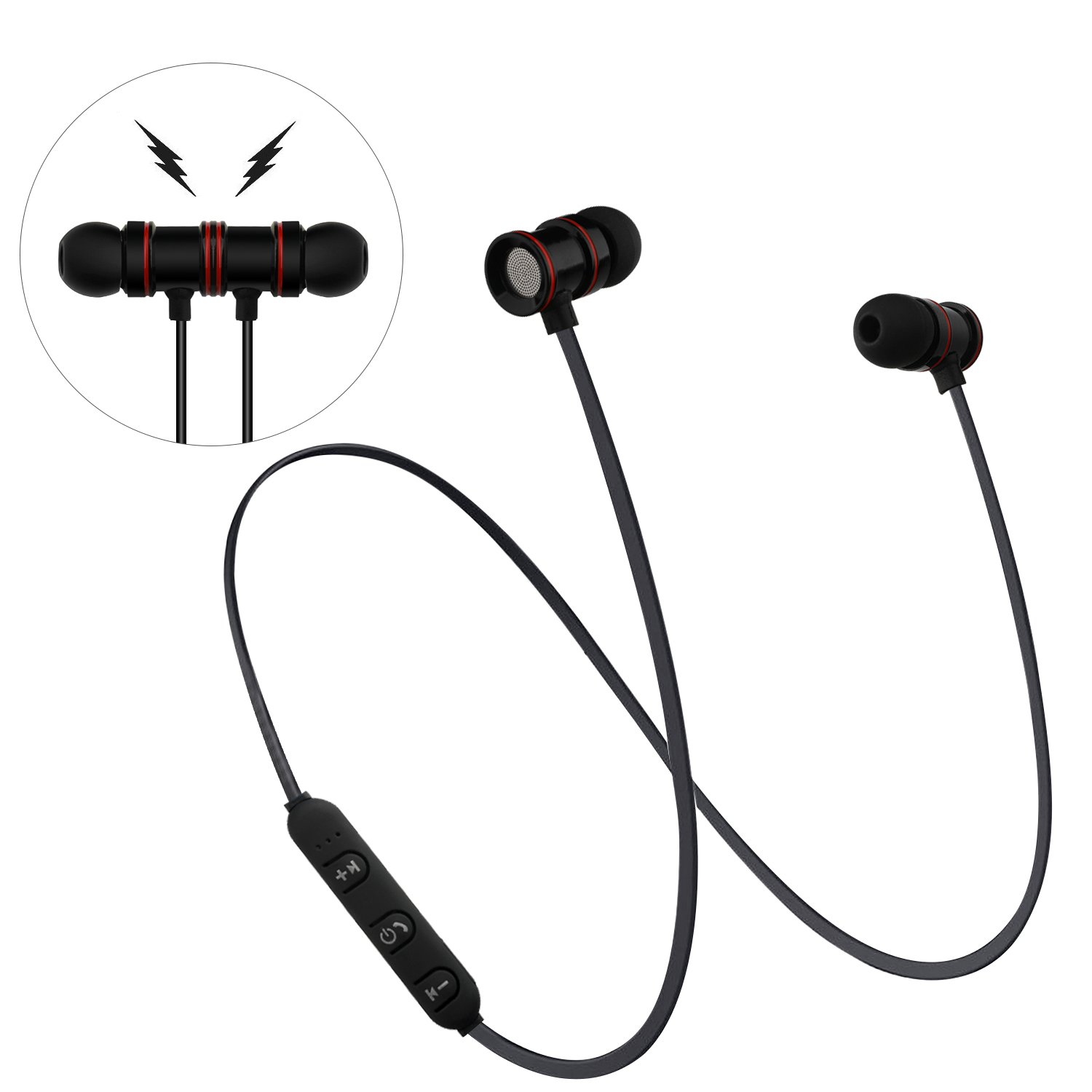 AFRGZFOR Bluetooth Headphones,Wireless Headphones V4.1 Magnetic in-Ear Stereo Earphones,6 Hours,Noise Cancelling,Sweat Proof Earphones Sports Sweatproof Headset with Mic for Sport Black