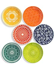Annovero Salad/Luncheon Plates, Set of 6 Porcelain Plates, 8.5 Inch Diameter