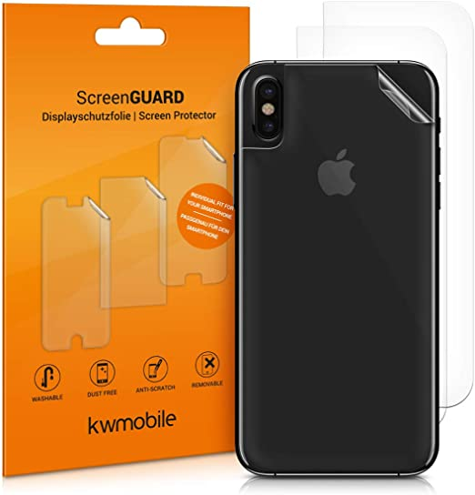 kwmobile Set of 3X Back Covers Compatible with Apple iPhone X - Transparent Protective Films for Rear Side of Smartphone