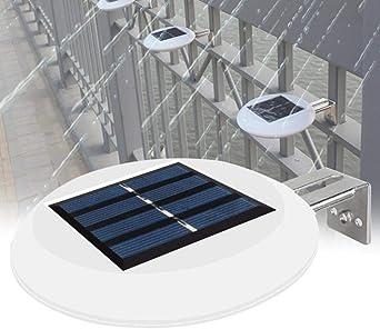 9 LED Canalón Camino Jardín Parrilla Luz Exterior Noche Solar Powered Patio Fregadero a prueba de agua Inicio Valla Montaje en pared Redondo,White: Amazon.es: Iluminación