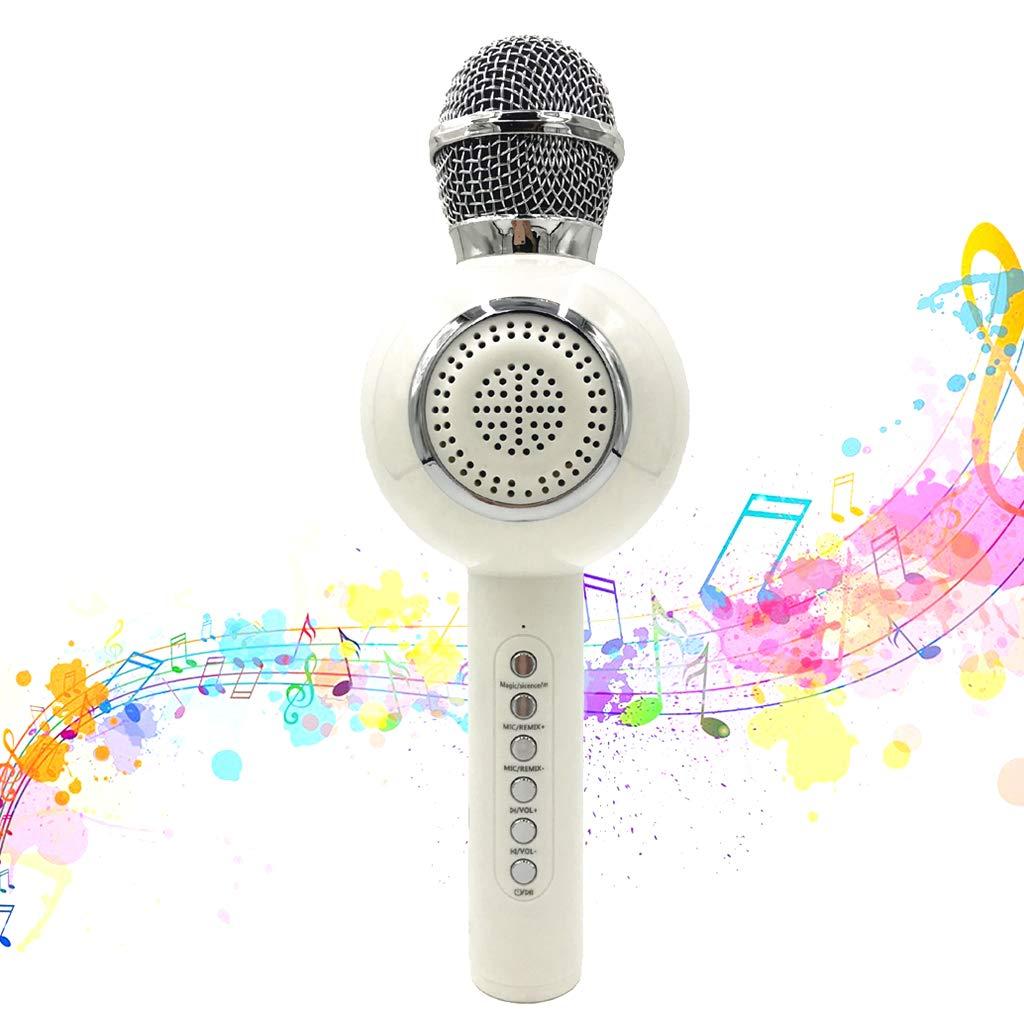 OceanEC Kids Bluetooth Karaoke Microphone, Wireless Rechargeable Portable Handheld Karaoke Music Microphone HiFi Loudspeaker MP3 Player for Kids Adult Home Party (Handheld White) by OceanEC (Image #1)