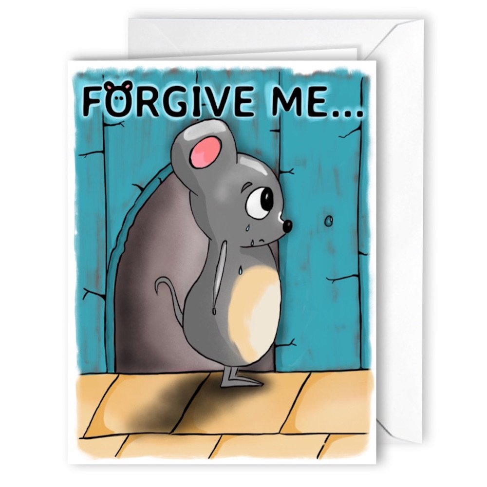 Glossy Forgive Me Cute Card LARGE A5 with Envelope blank inside humorous apologies apology i was wrong i'm sorry forgive me All-Ways Design