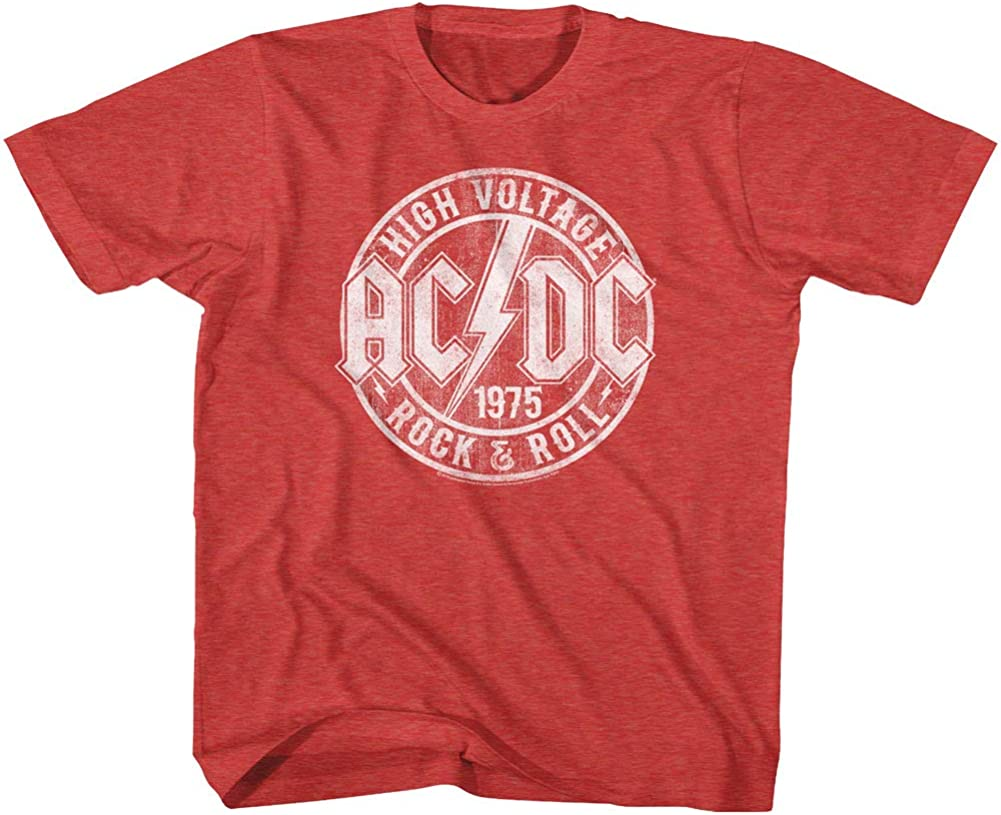 ACDC Heavy Metal Rock Band High Voltage Rock & Roll Vintage Youth T-Shirt Tee
