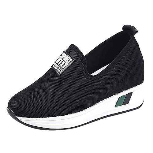 Zapatillas Deportivas Plataforma Cuña para Mujer,Mujeres Moda Aumentar Carta Cuñas Mocasines Al Aire Libre Ronda Toe Casual Zapatos: Amazon.es: Zapatos y ...