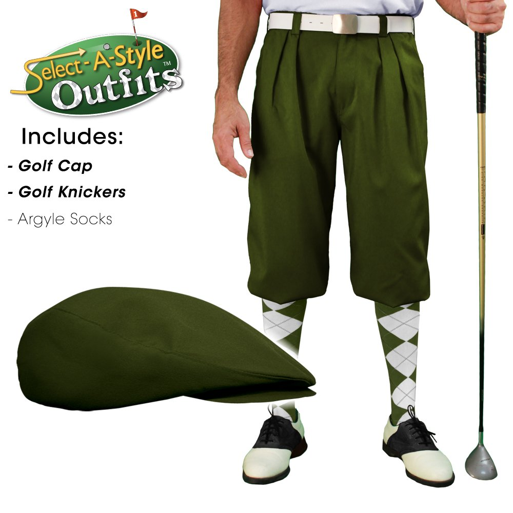 Golf Knickers Mens Select-A-Style Outfit - Olive - Waist 40 - Sock - OL/NY/KH by Golf Knickers (Image #3)