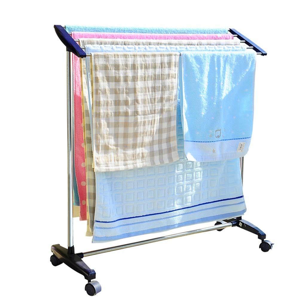 多機能衣服Airer可動式ステンレススチール洗濯乾燥ラックハンガー乾燥タオルレール屋内または屋外用5レールバーホルダー83x32x89cmホイール付き B07JL2S6S4