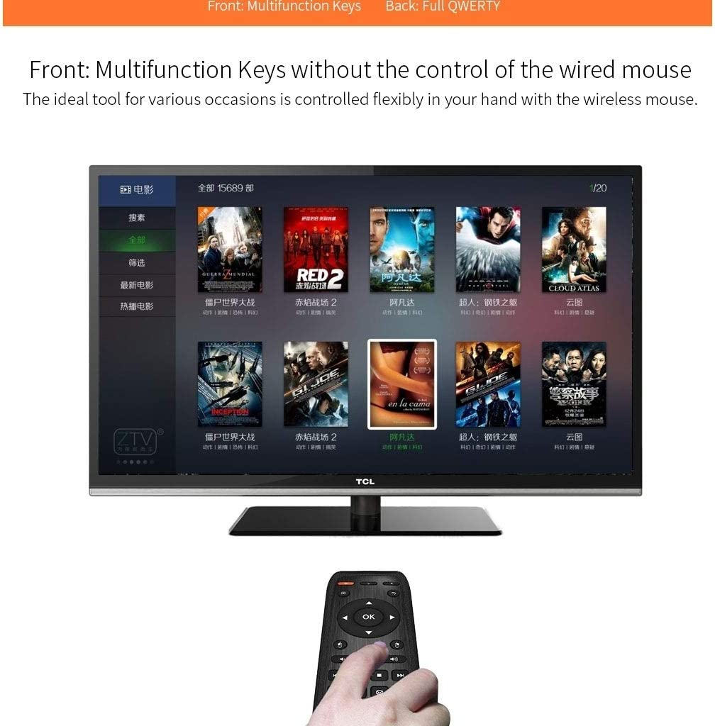 HUFAN KB-91S 2.4GHz Keyboard Fly Mouse Rechargeable Remote Control for Android TV Box PC Tablet