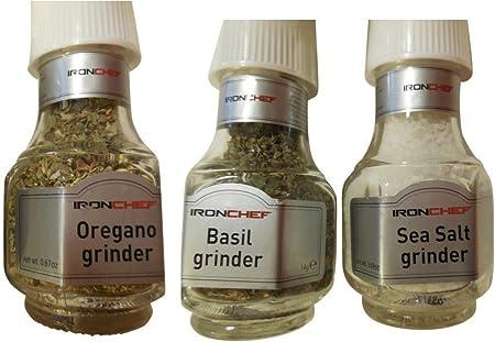 Iron Chef 3 Variety Pack molinillos para especias; Mar Sal, orégano y albahaca: Amazon.es: Hogar