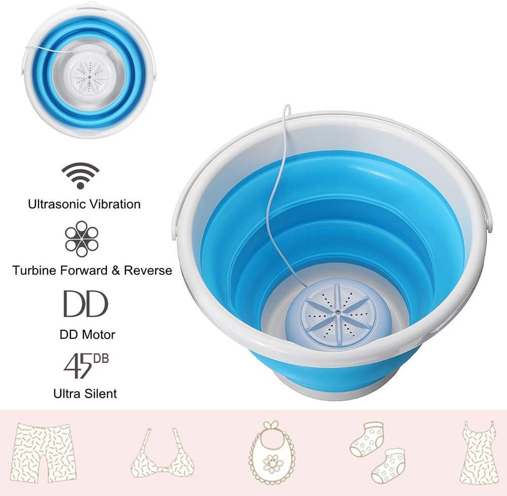 LNLN Mini Lavadora PortáTil De Turbina UltrasóNica, Tipo De Cubo Plegable USB Lavadora De Ropa Lavadora para El Hogar O Viajes, Ropa Interior, Calcetines, Ropa De Bebé