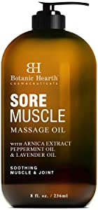 BOTANIC HEARTH Sore Muscle Massage Oil - with Arnica Montana Extract and Essential Oils - Warming and Relaxing - Soothes Tired Sore Muscles and Joint Pain, 8 fl oz