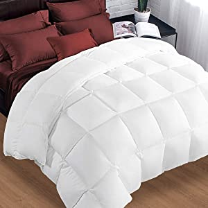 Queen Comforter Soft Warm Goose Down Alternative Duvet Insert 2100 Quilt with Corner Tab for All Season, Prima Microfiber Filled Reversible Hotel Collection,White,88 X 88 inch