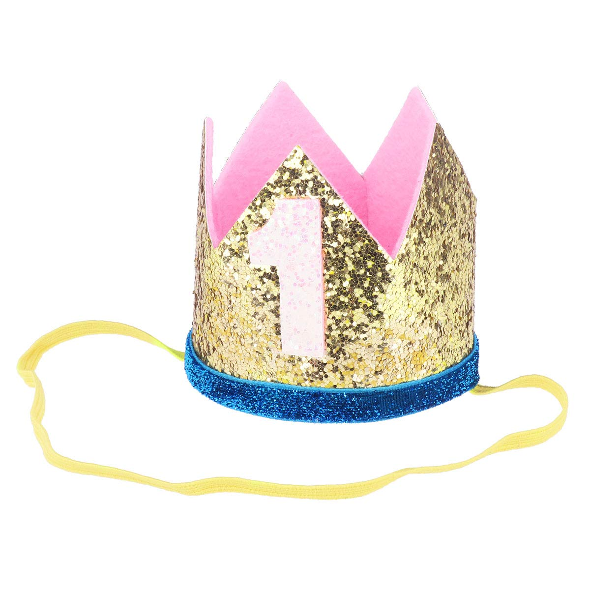 iiniim Baby Girls Boys First /1st Birthday Party Hat Little Prince Crown Headband Head wear Accessories Gold Number 1 One Size by iiniim (Image #3)