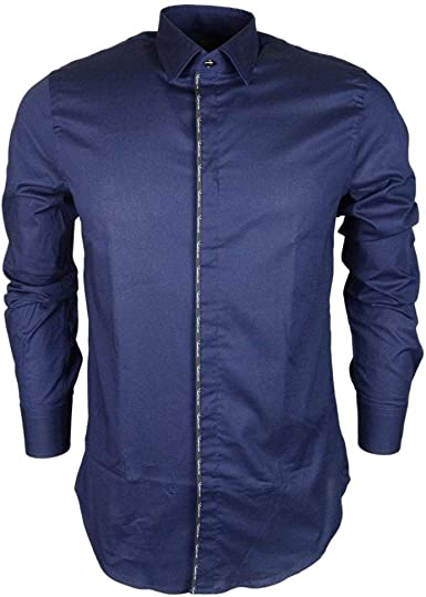 Cavalli Class Samba - Camisa de algodón, Color Azul Marino ...