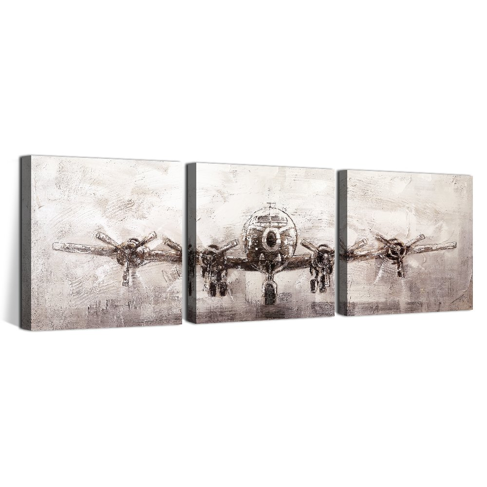 OKAYPAINTING--Exclusive Modern Airplane Canvas Painting Wall Art Home Decoration Streched Canvas Art Decor 12X12inch Set of 3