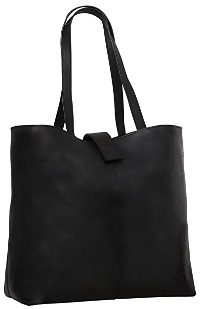 "Gusti leder studio ""Alexandra"" Genuine Leather Ladies Shoulder Shopper Tote Handbag 15"" MacBook Laptop Casual Smart Vintage Accessory Black 2H52-33-7 B01JLZ3R4A"