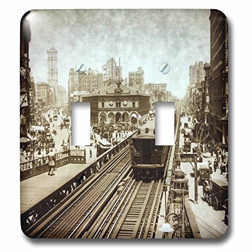 3dRose Scenes from the Past Magic Lantern Slides - New York City Herald Square N Ave Upper Broadway to Times Square 1900 - Light Switch Covers - double toggle switch - Ave Herald