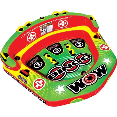 - Wow World of Watersports 14-1070 Bingo Inflatable, 1 to 3 Person Secure Cockpit Seating Towable, Front and Back Tow Points