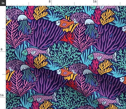 Spoonflower Oceans Fabric - Deep Sea Fish Swim Bright Coral Reef Tropical Fishes Purple Creature Ocean Print on Fabric by The Yard - Petal Signature Cotton for Sewing Quilting Apparel Crafts Decor (Bright Tropical Fish)