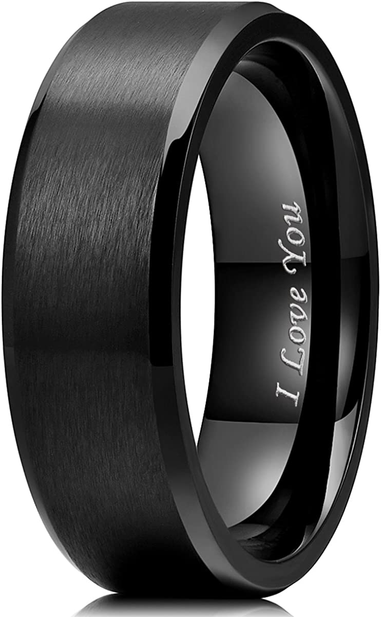 King Will 4mm//5mm//6mm//7mm//8mm Stainless Steel Ring Black Plated Matte Finish/&Polished Beveled Edge with Laser Etched I Love You