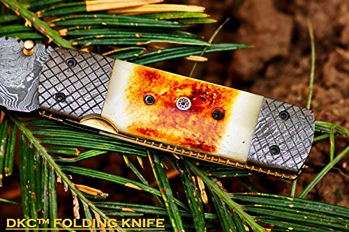 DKC-167-SNOW-BUCK-Damascus-Steel-Blade-Folding-Pocket-Knife-9-Long-4-Blade-5-Folded-13oz-DKC-Knives-Very-Solid-Knife