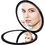 Gospire 化粧鏡 10倍拡大鏡 両面コンパクトミラ 両面鏡 携帯ミラー 化粧ミラー 手鏡 折りたたみ式 コンパクト 角度調整可
