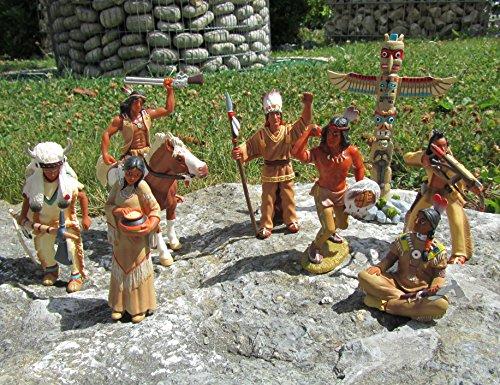 Original Bullyland Indianer & Pferd Figuren 9 tlg. Set