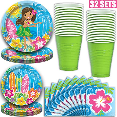 Luau Theme Party Supplies for 32 - Dinner Plates, Dessert Plates, Napkins, Plastic Cups (18oz)- Hawaiian Paper and Plastic Dinnerware Featuring Hibiscus, Hula Girl, Leis, Surfboard on a Sunny - Luau Plates