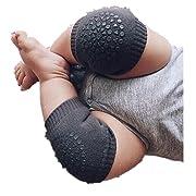 BEAUTYVAN,Functional Baby Crawling Anti-Slip Knee Compression Sleeve Unisex Kneecap Coverage (Dark Gray)