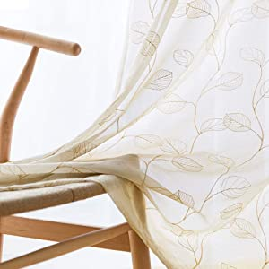 Embroidered Sheer Curtains for Living Room 95 inch Long Geometric Leaf Embroidery Voile Window Curtains Rod Pocket Bedroom Window Treatment Set 2 Panels Taupe