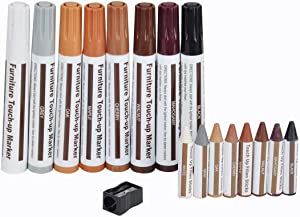 Furniture Touch Up Marker 17 PCS Repair Kit Cover Wood Scratch- Markers and Wax Sticks and Sharpener, for Stains, Scratches, Wood Floors, Desks, Touch Ups and Cover Ups