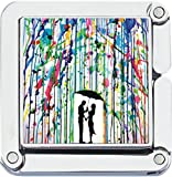 Square Watercolor Rain Couple Photo Purse Hanger Handbag Table Hook