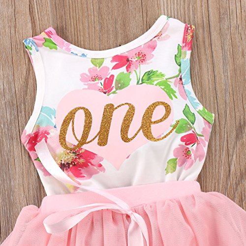 7f71ecf17 yannzi Baby Girls' 1st Birthday Tutu Dress Sleeveless Floral Romper ...