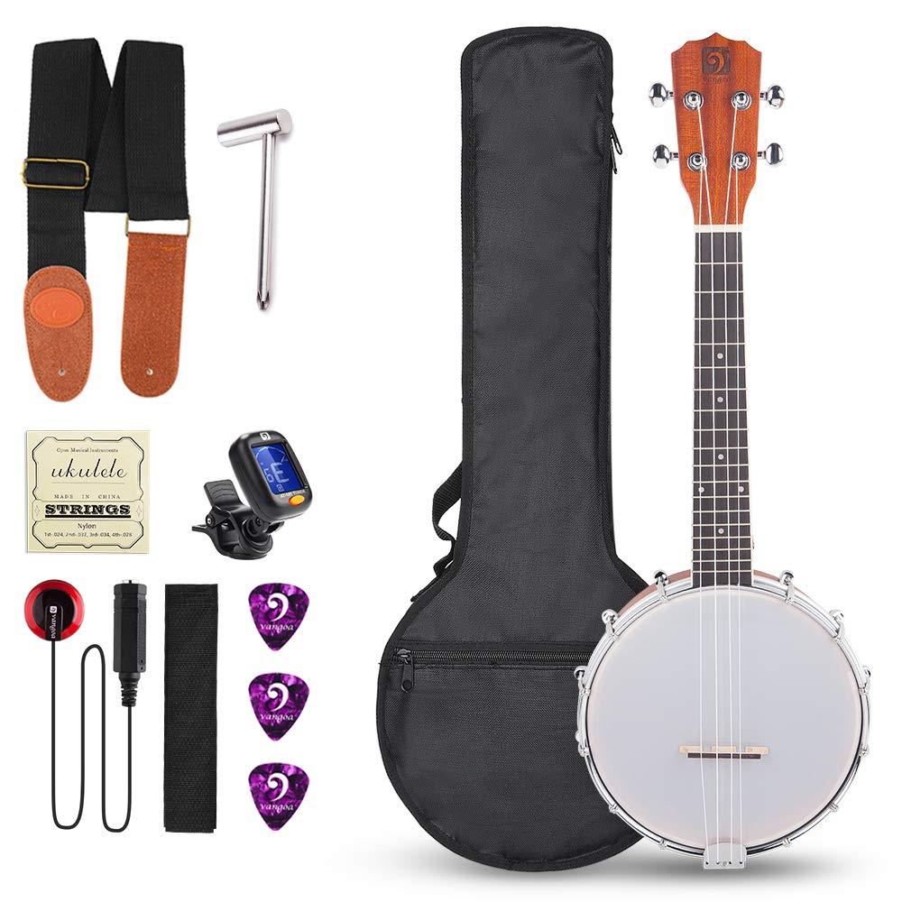 Vangoa 4 Strings Concert 23 Inch Banjo Uke Ukulele Banjos Banjolele Sapele Wood Kit with Wretch and Self-adhesive Pickup