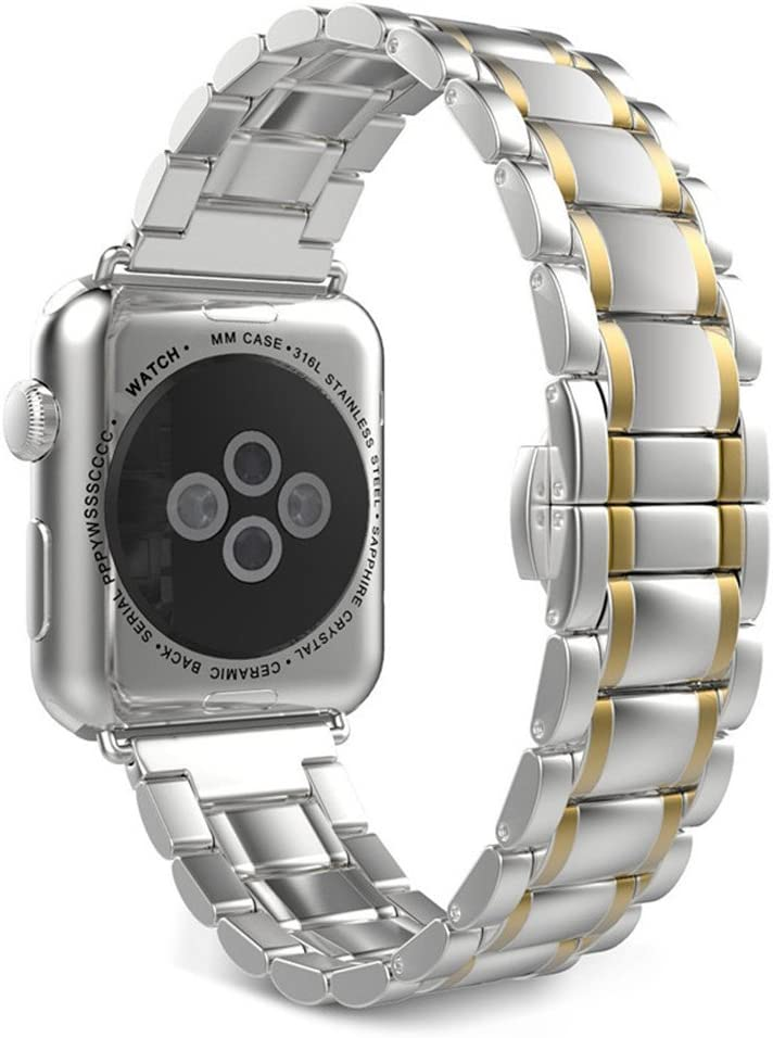 Seinit Stainless Steel Watch Band Replacement Strap Compatible with Apple Watch Series 5/4 (44mm) Series 3/2/1 (42mm), Gold