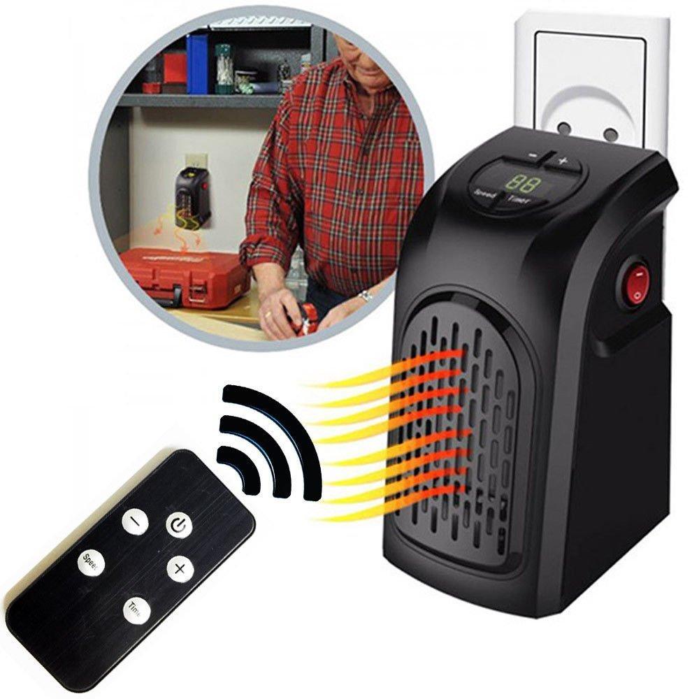 Takestop® - Estufa Wonder eléctrica con mando a distancia, 400 W, manejable y portátil, enchufe de toma eléctrica regulable, de 15 a 32°, bajo ...