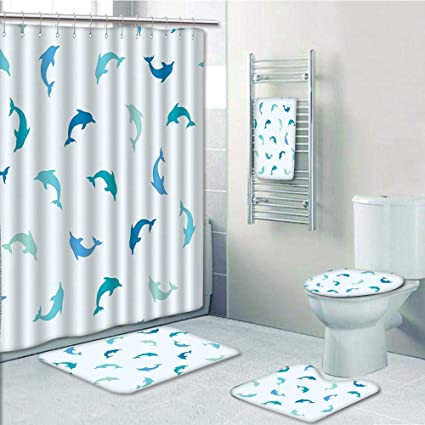 Captivating 5 Piece Bathroom Set Includes Shower Curtain Liner,Sea Leaping And Playing  Dolphin
