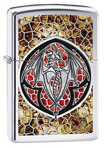 (Zippo Anne Stokes Dragon High Polish Chrome Fusion Pocket Lighter )