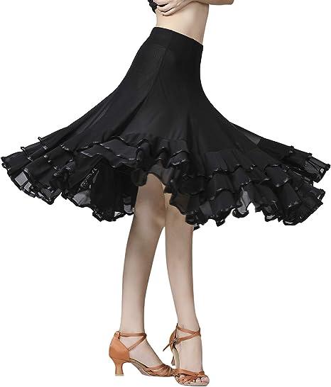 Women Ballroom Latin Salsa Flamenco Modern Tango Waltz Skirt Dance Dress Fashion