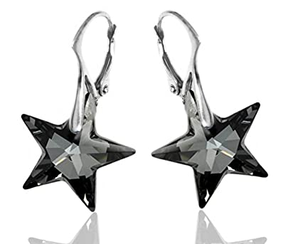 Royal Crystals Black Star Leverback Earrings Sterling Silver Made with Swarovski Crystals for Women WNFFjik