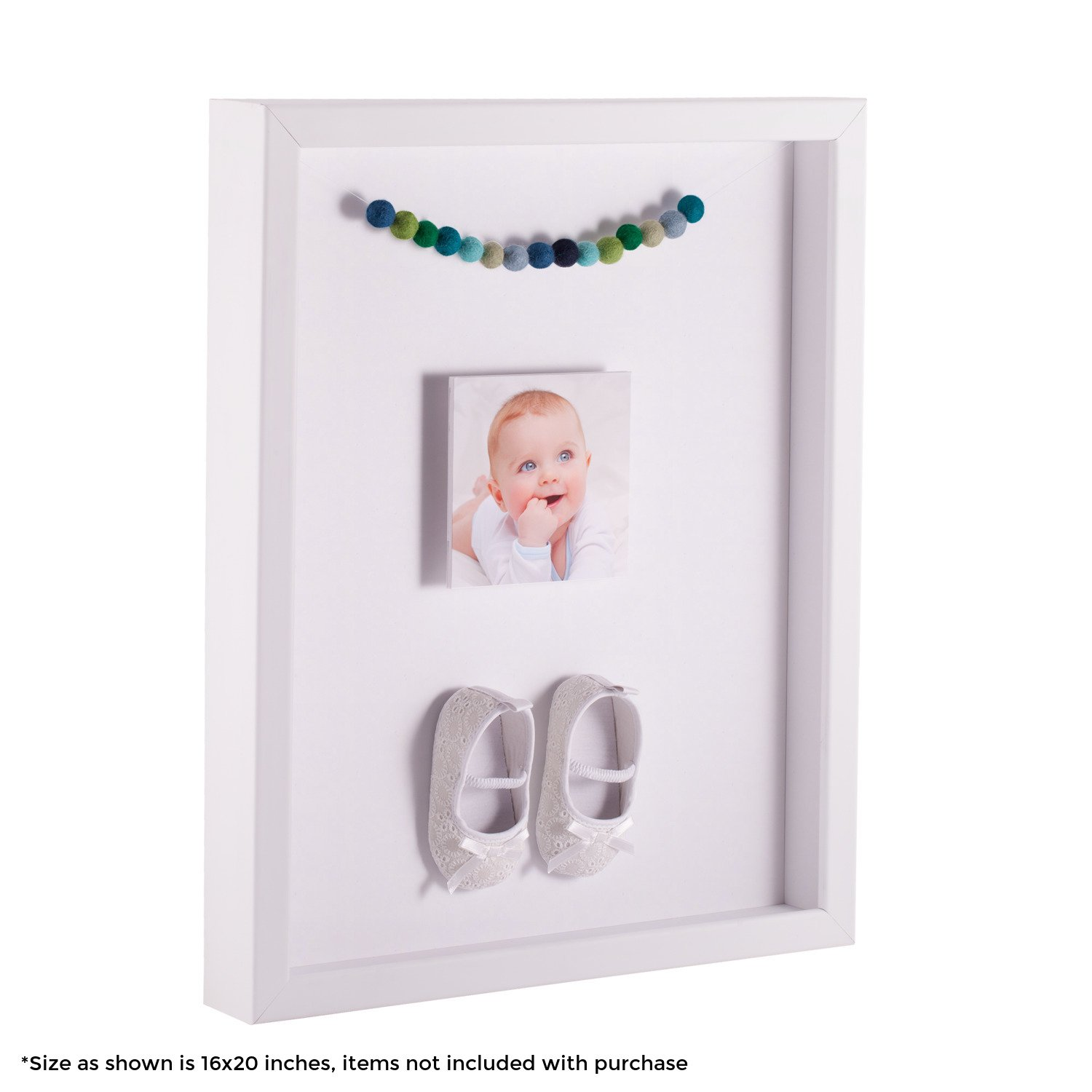 ArtToFrames 24 x 30 Inch Shadow Box Picture Frame, with a Satin White 1'' Shadowbox Frame and Super White Mat by ArtToFrames
