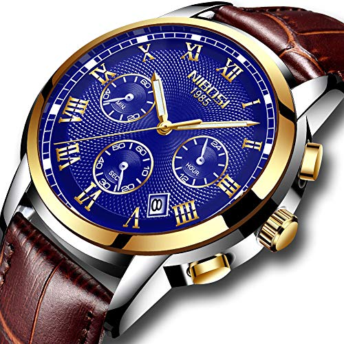 Mens Watches Waterproof Luxury Brand Chronograph Sports Watches Men Full Steel Quartz Business Casual Wrist Watch Leather