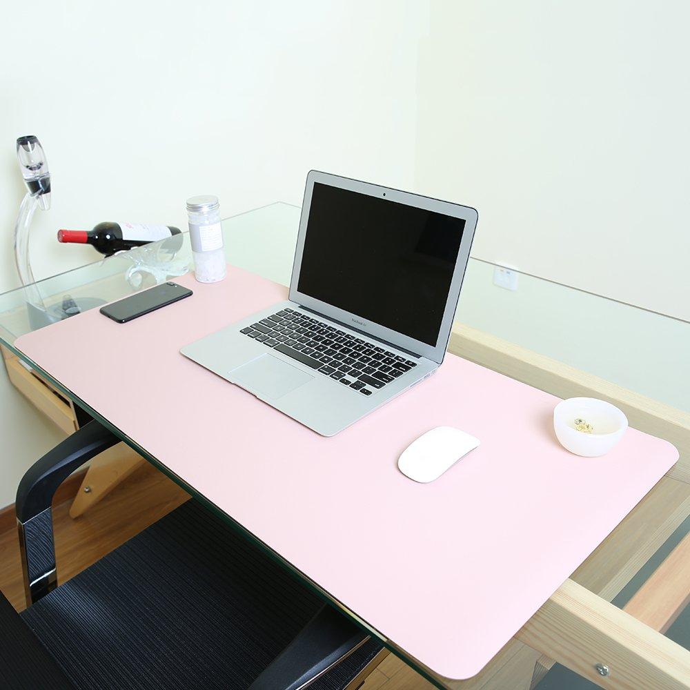 PU double face ultra sottile 2/mm 90 x 45 cm Pink perfetto da scrivania Jian Ya Na per ufficio e casa tappetino per mouse in pelle sintetica di poliuretano impermeabile Silver