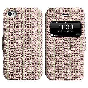 Be-Star Diseño Impreso Colorido Slim Casa Carcasa Funda Case PU Cuero - Stand Function para Apple iPhone 4 / 4S ( Pink Circles )