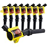 DG508 Ignition Coil Pack High Engine 8 Pack Ignition Coil Curved Boot for Ford E150 E250 E550 F150 F250 F550 4.6L 5.4L 6.8L V